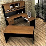 92850-63 Innova U-Shaped Workstation with Scratches Stains and Wear Resistant Surface in Tuscany Brown and Black