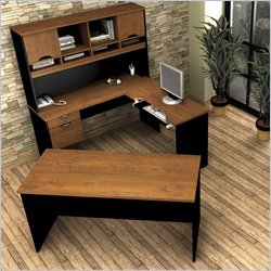 Innova U-shaped workstation kit in Tuscany Brown & Black