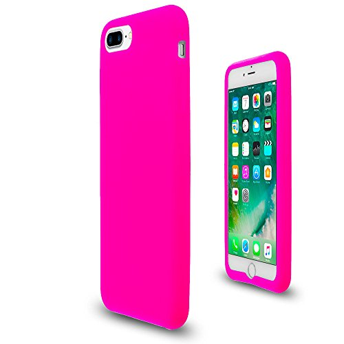 Hot Pink Soft Silicone Rubber Case Flexible Skin Jelly Cover for iPhone 7 Plus (Hot Pink Rubber Case)
