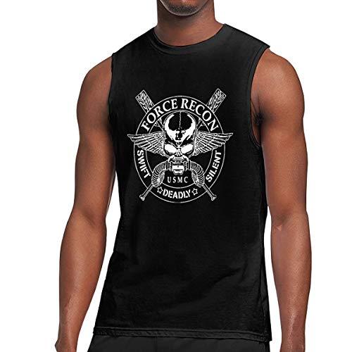 United States Marine Corps Force Recon Men's Sleeveless T Shirts Waistcoats Fitness Vest Gym Tank Top Shirt Vest Black