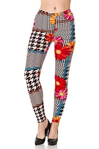 CARNIVAL Women's Full-Length Printed Soft Microfiber Legging, Daisy Hound, X-Large ()