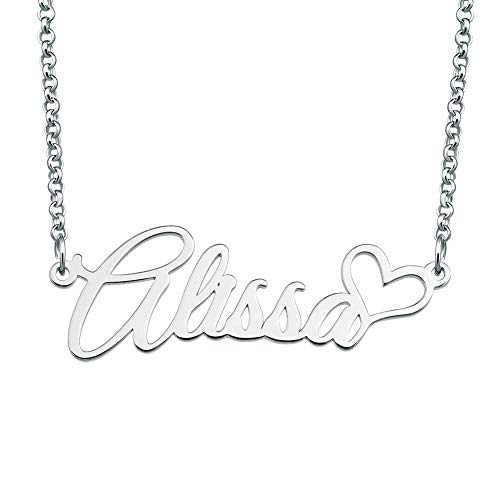 Lifequeen 925 Sterling Silver Heart Personal Name Necklace for sale  Delivered anywhere in USA