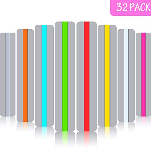 32 Pieces Guided Reading Highlight Strips, Colored Overlay Highlight Bookmarks for Children's Reading Aid]()