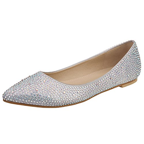 VELCANS Womens's Sparkly Rhinestone Wedding Bridal and Prom Flat Shoes (9 B(M) US, Silver)