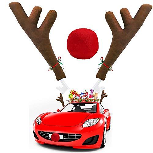 Reindeer For Cars (Ankuka Car Reindeer Antlers & Nose Decorations, Window Roof-Top & Front Grille Rudolf Reindeer Jingle Bell Christmas Costume Auto)