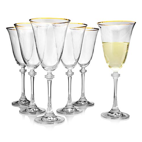 Gold Rimmed & Diamond Decor Wine Glass Set (6 pack), Chip Resistant & Crystal Clear Red Wine Glassware, 100% Lead-Free - European Quality & Luxury Standard, 8.45 Ounces (Gold Rim Wine Glasses)