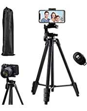 Camera Tripod Stand,136 cm Extendable Tripod for Camera Cellphone and Gopro,Rimposky Aluminum Travel Tripod with Carry Bag & Bluetooth Remote,DSLR Cameras Stand Compatible with iPhone & Android Phone