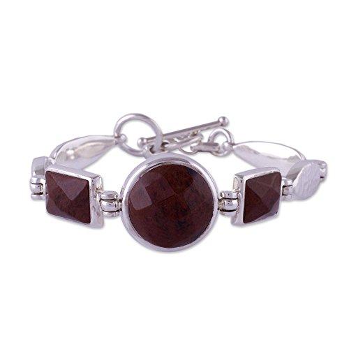 - NOVICA Obsidian .925 Sterling Silver Link Bracelet, 7