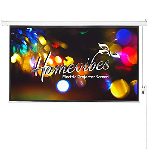 Homevibes 100 inch 16:9 Projector Screen Electric Motorized Portable Movie Screen Video Projection Screen for Home Theater Outdoor, 3D HD Matte White Remote Control Wall Ceiling Mounted, 1.3 Gain ()