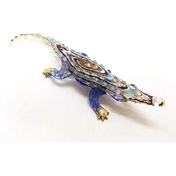 "Handmade Large Size 8/"" Supercroc Alligators Crocodile Art Glass Blown Figurine"