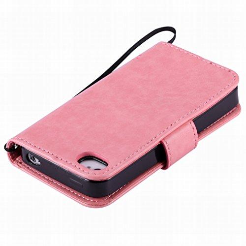 Custodia Apple iphone 4 4s Cover Case, Ougger Alberi Gatto Printing Portafoglio PU Pelle Magnetico Stand Morbido Silicone Flip Bumper Protettivo Gomma Shell Borsa Custodie con Slot per Schede (Rosa)