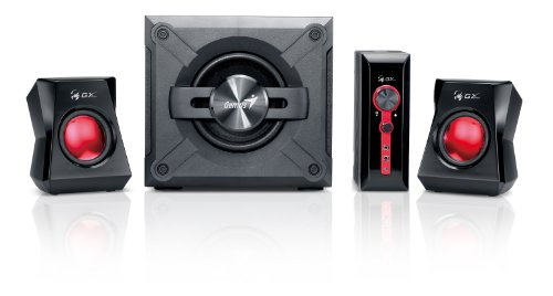 Genius SW-G2.1 1250 2.1 Channel Speaker System With Wooden Cabinet Subwoofer and Deep Bass, Headset/Microphone/Audio-In 3.5mm Jacks for Game Consoles, DVD, TV, MP3 Players, Mac, PCs, and Laptops by Genius