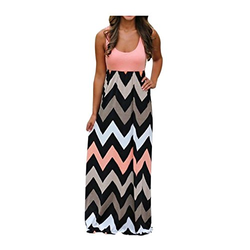 Mr.Macy 2018 New Fashion Womens Striped Long Boho Dress Lady Beach Summer Sundrss Maxi Dress (M, - Order Check Macys