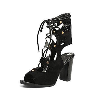 LvYuan sandalias de la primavera zapatos del club de la caída del verano del tobillo de gladiadores partido paño grueso y suave de la beige