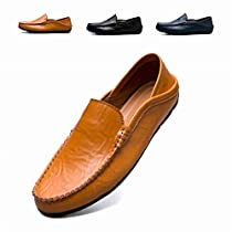 RDGO Penny Loafers Men Shoes Slip On Moccasins Driving Shoes Lightweight Flats Leather Casual Boat Shoes Walking Shoes