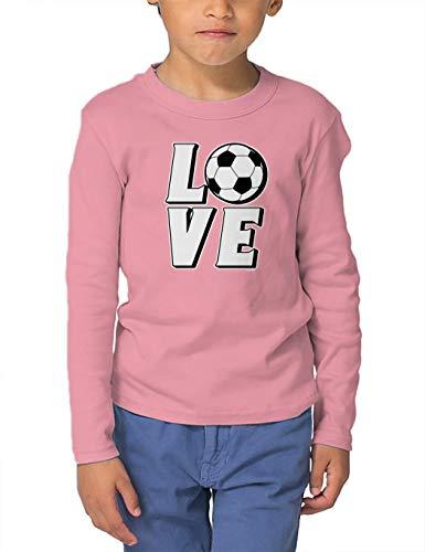 (Love Soccer - Sports Future Athlete Long Sleeve Toddler Cotton Jersey Shirt (Light Pink, 3T) )