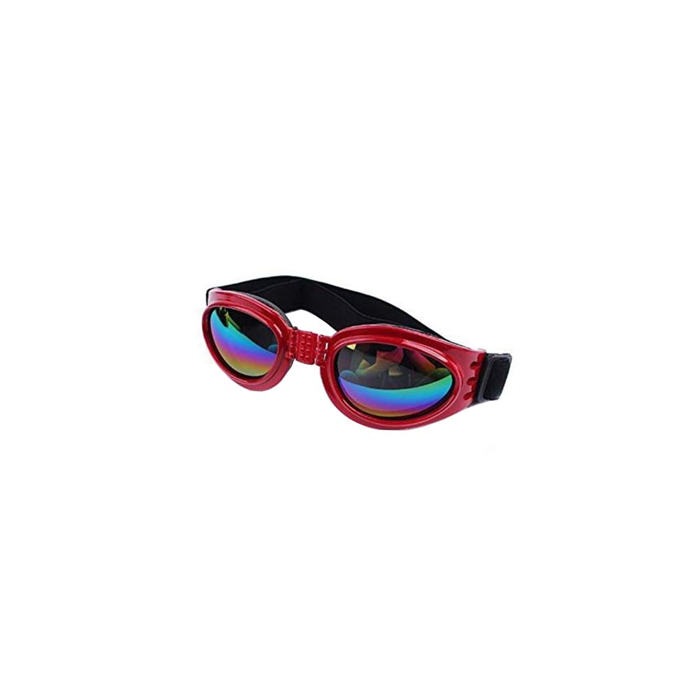Pet Goggles Dog Sunglasses Colorful UV Eyewear Protection with Adjustable Strap for Dogs Red