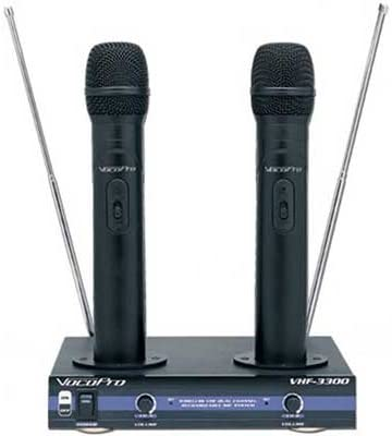 VocoPro VHF-3300 Dual Channel VHF Rechargeable Wireless Microphone System