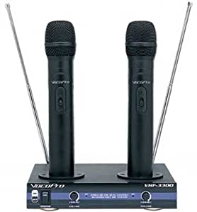 vocopro vhf 3300 dual channel vhf rechargeable wireless microphone system musical. Black Bedroom Furniture Sets. Home Design Ideas