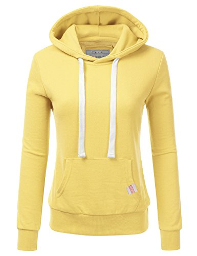 Doublju Basic Lightweight Pullover Hoodie Sweatshirt For Women lightYellow Medium