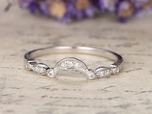 Diamond Wedding Band Solid 14k White Gold Half Eternity Antique Curved Art Deco Bridal Stacking Ring Marquise Milgrain Promise Matching Stackable Rings Rose Yellow