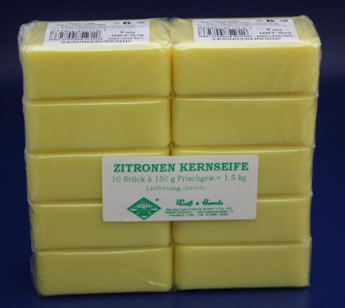 10x150g = 1,5 kg ZITRONEN KERNSEIFE SEIFE MADE IN GERMANY