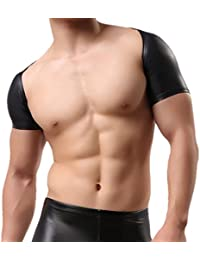 Mens Short Sleeves Faux Leather Bolero Arm Cover Arm Sleeves Shrug Dancewear