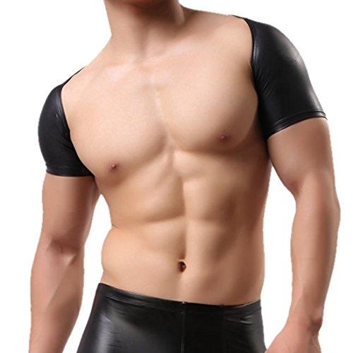 TiaoBug Mens Short Sleeves Faux Leather Bolero Arm Cover Sleeves Shrug Dancewear Black X-Large]()