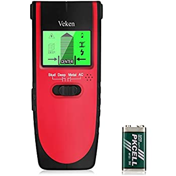 Stud Finder, Veken 4 in 1 Multifunctional Wall Scanner, Professional Wall Center Sensor Detector for Studs, Metal, Wood, and Live AC Wire