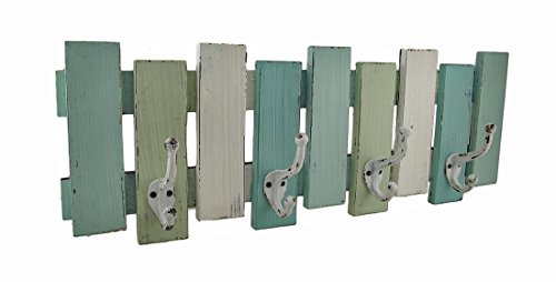 Wood Coat Hooks Blue, White And Green Distressed Finish Wooden Wall Hook 26 X 9 X 4 Inches Green - Distressed White Metal Towel Rack