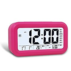 Ieasycan Digital Snooze Alarm Clock Smart Night Light Sensor LCD Time Calendar Display Table Watch Kid Bedroom Clock Sleep Timer
