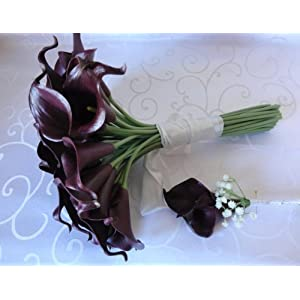 Lily Garden Luxury Calla Lily Bridal Wedding Bouquet 3 Dozen with Groom Boutonniere 6