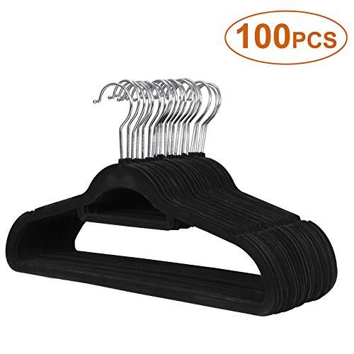 493a1c2c740cbb JupiterForce Pack of 100 Pcs Velvet Hangers Ultra Thin Non Slip Clothes  Hanger with Swivel Hook Flocked & Durable Space Saving for Garments,Men  Women ...