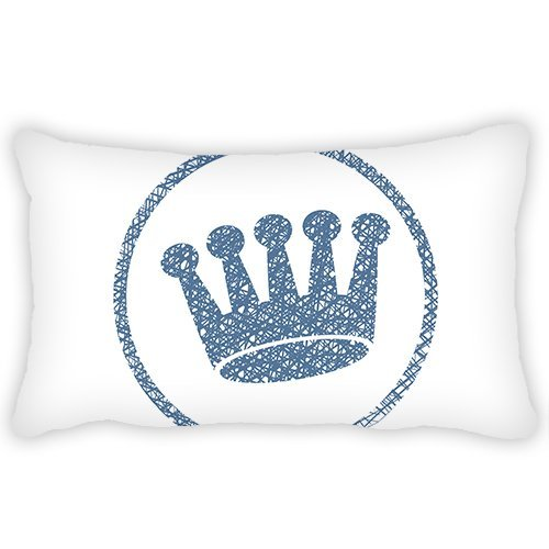ElijahToby Polyester Pillow Cover Cartoon Blue Crown Bolster Throw Pillow Case Cushion Cover for Kids Bedroom Couch Sofa Home Decorative 12x20 Inches