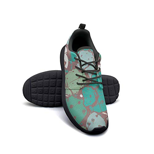 393e1883ed22a HCDAGOI Womens Black Jogging Running Shoes Colorful Tropical Cactus  Watercolor Athletic Sneakers