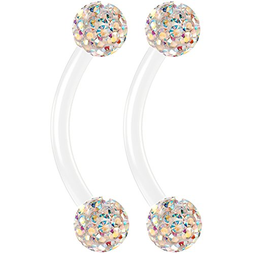 Bling Unique 2pc 16g Flexible Acrylic Curved Barbell Cartilage Eyebrow Auricle AB Aurora Borealis Crystal CZ 8mm