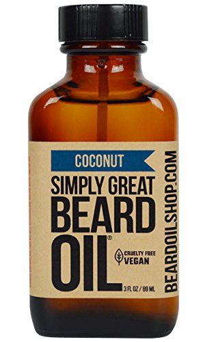Simply Great Beard Oil – COCONUT Scented Beard Oil – Beard Conditioner 3 Oz Easy Applicator – Natural – Vegan and Cruelty Free Care for Beards – America's Favorite