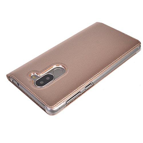 Honor 6X 2016 Funda,COOLKE Diseño de ventana Flip Funda Con Soporte Plegable Carcasa Funda Tapa Case Cover para Huawei Honor 6X 2016 - Oro Oro