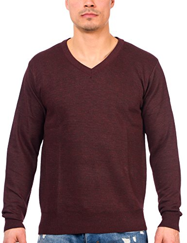 TR Fashion Men's Long Sleeve Soft Stretch V-Neck Casual Pullover Sweater (Marled Wine, - Marled Sweater V-neck