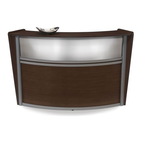 OFM Marque Series Plexi Single-Unit Curved Reception Station, Walnut by OFM