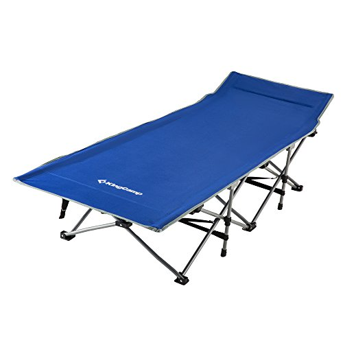 KingCamp Strong Stable Folding Camping Bed Cot with Carry Bag (Blue)