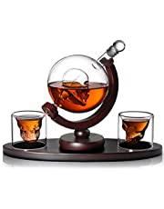 AIKENR Skull Decanter Set, With 2 Skull Shot Glasses and Beautiful Wooden Base, By Use Skull Head Cup For A Whiskey