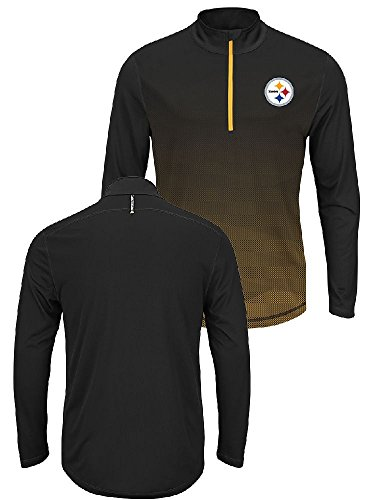 Pittsburgh Steelers Intimidating Half Zip Pullover Synthetic Windshirt (X-Large) (Windshirt Official Mens)