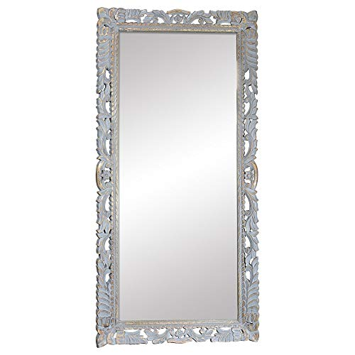 Indian Heritage Mirror 29x60 Carved Wooden frame in Grey Distress finish ()