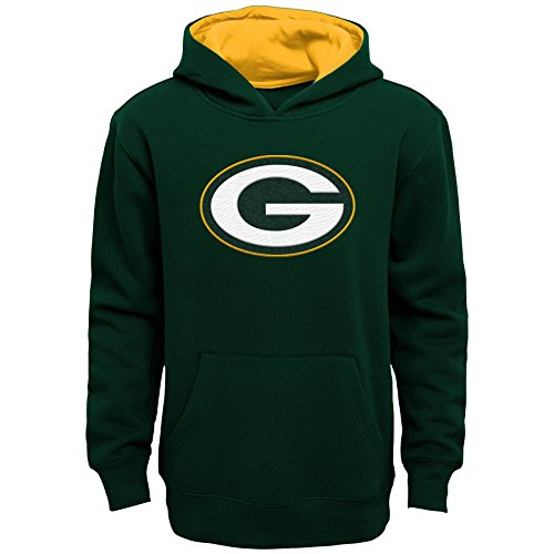 (NFL Green Bay Packers Kids & Youth Boys Prime Pullover Fleece Hoodie, Hunter Green, Kids Small(4))