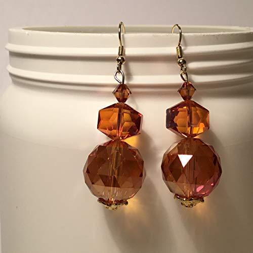 Amber Colored Bead BOHO Dangle Earrings.