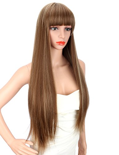 Kalyss 28 inches Women's Silky Long Straight Brown Wig with Blonde Highlights Heat Resistant Yaki Synthetic Wig With Bangs Hair Wig for Women