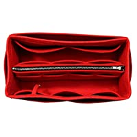[Fits Delightful MM, Red] Purse Insert (3mm Felt, Detachable Pouch w/Metal Zip), Felt Tote Bag Organizer