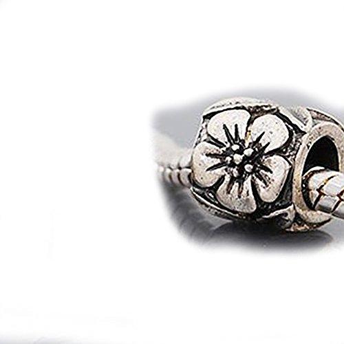 Flower Pattern Charm Bead For Snake Chain Charm (Flowers Pattern Charm Bracelet)