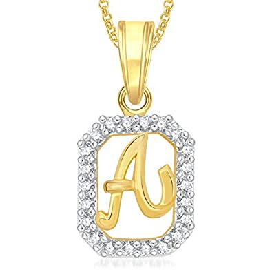 meenaz gold plated a letter alphabet heart love necklace chain